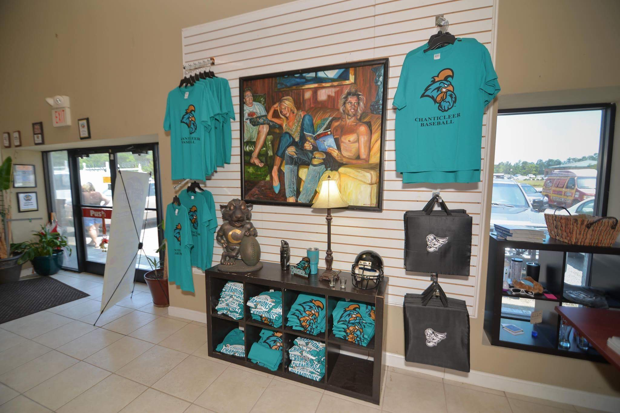 Showroom showing screen printed items
